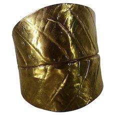 Vintage Statement Brass Cuff in Leaf Form