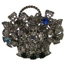 Czechoslovakia Silver Tone Flower Basket Pin With a Variety of Crystals