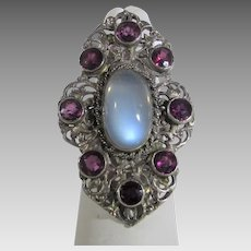 14 Karat  White Gold Filagree Ring with Moonstone With Amethyst Accents