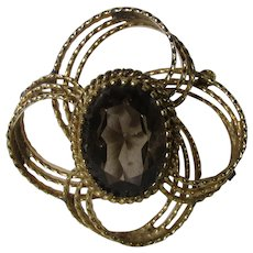 Vintage Gold Filled Pin With Faux Smokey Quartz