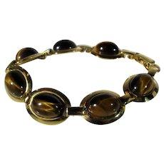 Vintage Tiger's Eye Goldtone Bracelet
