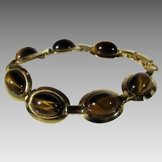 Vintage Tiger's Eye Goldtone Bracelet