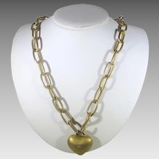 Vintage Designer Signed Goldtone Necklace With Single Heavy Goldtone Heart