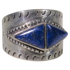 Sterling Silver Native American Ring With Lapis Lazuli Artist Signed