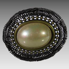 Vintage Statement Pin in Bronze Tone with Huge Faux Mabe Pearl