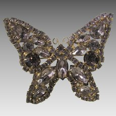 Vintage Dusty Rose Crystal Butterfly