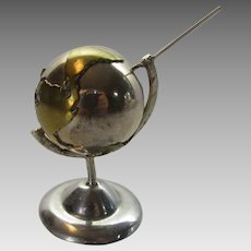 Sterling Silver Mexican Globe In Stand That Chimes When Spun