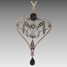 Vintage Gold Filled Pendant With Amethyst and Seed Pearls On a 14 Karat Yellow Gold Chain