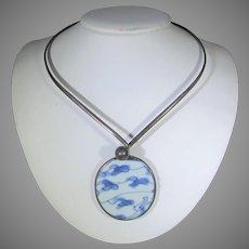 Sterling Silver Necklace With Shard of Antique Pottery as Center Piece