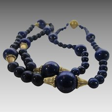 Lapis Lazuli Necklace with Gold Filled Beads and large Goldtone Clasp