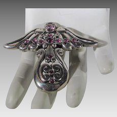 Sterling Silver Barse Angel Pin or Pendant with Pink Crystal Accents