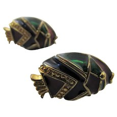 Sterling Silver Vermeil Enamelled Cuff Links in Fish Form in Their Own Marshall Field's Gift Box