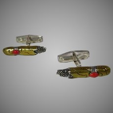 Sterling Silver Vermeil Cuff Links In Cigar Likeness With Coral on Cigar Band