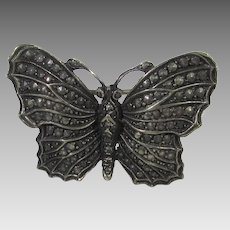 Vintage 800 Silver Butterfly with Textured Wings