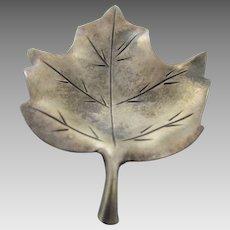 Sterling Silver Leaf Pin in Vintage Patina