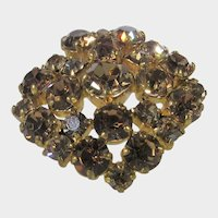 Vintage C Clasp Rhinestone Pin With Golden Aurora Borealis Crystals