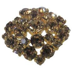 Vintage C Clasp Rhinestone Pin With Golden Aurora Borealis Crystals