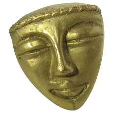 Vintage Goldtone Tribal Mask Pin