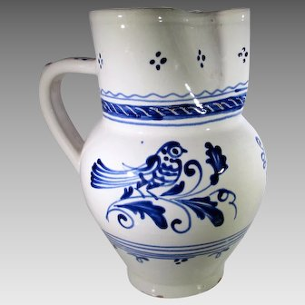 Vintage Korond Hungarian Pottery in Blue and White Pitcher