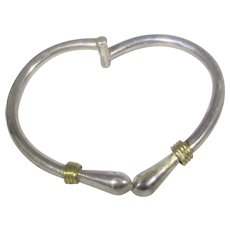 Sterling Silver Bangle With Goldtone Accents