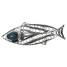 Sterling Silver Fish Pin with Nephrite Jade Eye
