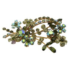 Vintage Austrian Multi Tone Pin With Lots of Crystals