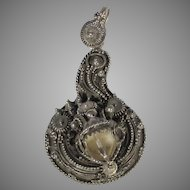 Vintage 900 Silver Pendant With Intricate Wire Work of Mythical Creature
