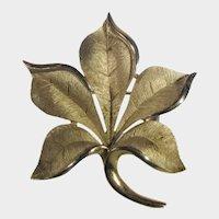 Vintage Crown Trifari Brushed Goldtone Leaf Pin