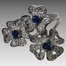 14 Karat White Gold Sapphire and Diamond Ring by Le Vian in a Flower Design