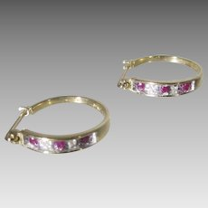 14 Karat Yellow Gold Hoops With Ruby and DIamonds for Pierced Ears