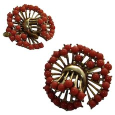Vintage Crown Trifari Goldtone Clip On Earrings with Faux Coral Accents