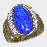 18 Karat Yellow Gold Lapis Lazuli Ring With Diamonds On Each Side