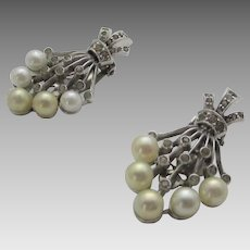Vintage Jomaz Clip On Earrings with Pave Crystals and Faux Pearls in  Floral Form