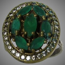 Sterling Silver Ring With Natural Emeralds and CZ Accents