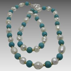 Artisan Turquoise and Freshwater Pearl Necklace