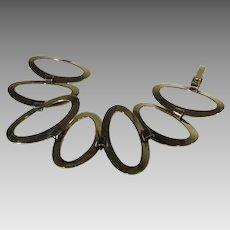 Sterling Silver Gold Wash Modernist Large Link Bracelet