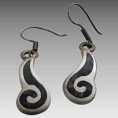Sterling Silver Mexican Pierced Earrings With Inlaid Onyx