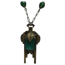 Vintage Deco Brass Necklace With Large Green Crystal