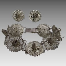Sterling Silver Early Sombrero Bracelet and Matching Screw Back Earrings Set