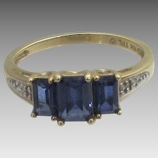 10 Karat Yellow Gold Ring With Three Dark Sapphires With White Gold Accents