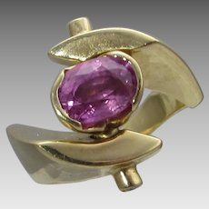14 Karat Yellow Gold Ruby Modernist Ring With DIamond Accent