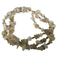 Vintage Gemstone Nugget Three Strand Necklace Featuring Amethyst, Rose Quartz