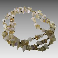 Vintage Gemstone Nugget Three Strand Necklace Featuring Amethyst, Rose Quartz
