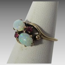 10 Karat Yellow Gold Opal and Ruby Ring