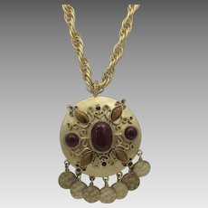 Vintage Carolee Goldtone Statement Necklace With Cabochon Glass Accents and Lots of Movement