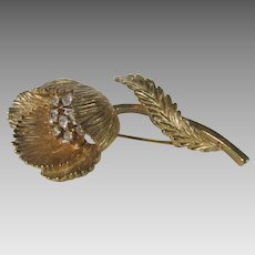 Vintage Crown Trifari Goldtone Flower Pin With Clear Crystal Accents