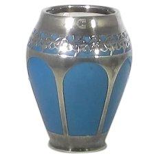 Sterling Overlay Porcelain Cabinet Vase Small