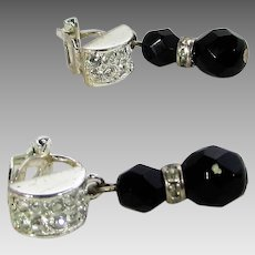 Vintage Carolee Clip  Earrings With Sparkly Crystals and Faux Onyx Drop