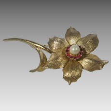 Vintage Boucher Signed and Numbered Narcissus Flower Pin in Goldtone and Faux Pearl and Faux Rubies