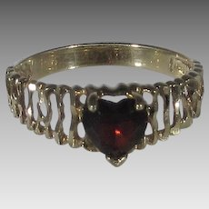 10 Karat Yellow Gold Ring With Heart Shaped Garnet Center Stone